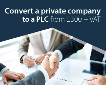 Convert a private company to a PLC from £300 + VAT