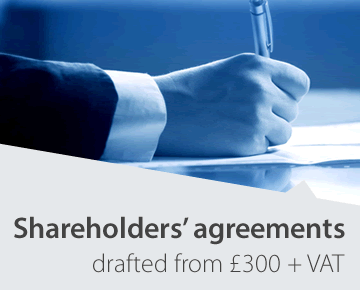 Shareholders' agreements drafted from £300 + VAT