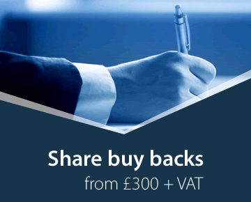 Share buy backs from £300 + VAT